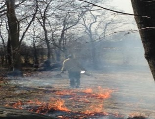 Firefighter Walking Away from a Fire