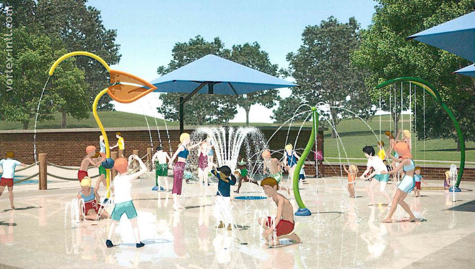 Splash Pad rendering with view from ground level