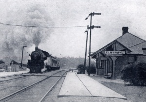 Train arriving at Elm Grove Station in 1920